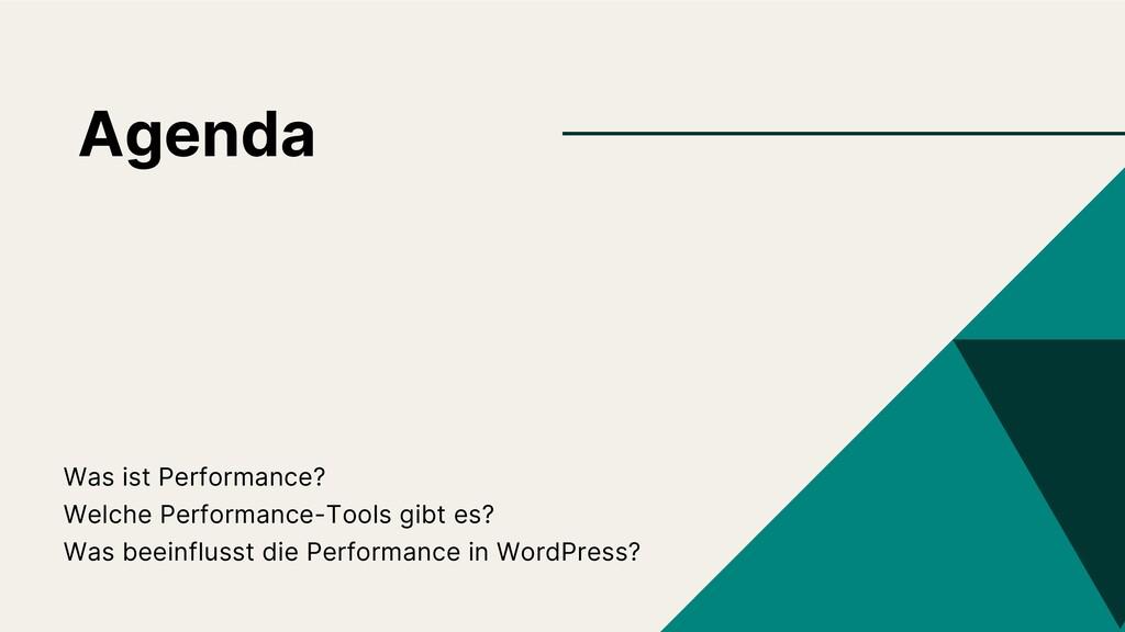 Agenda Was ist Performance? Welche Performance-...