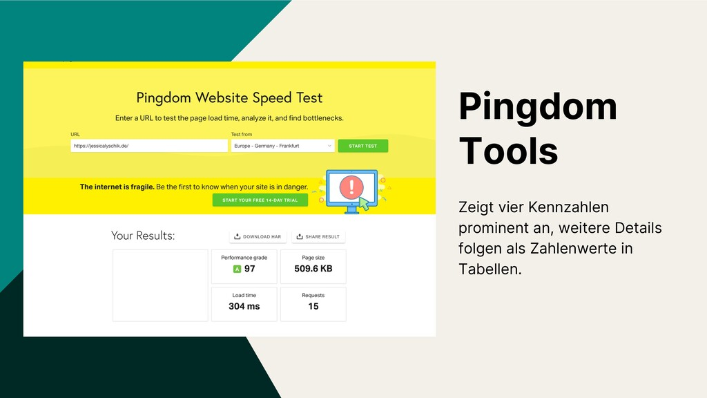 Pingdom Tools Zeigt vier Kennzahlen prominent a...