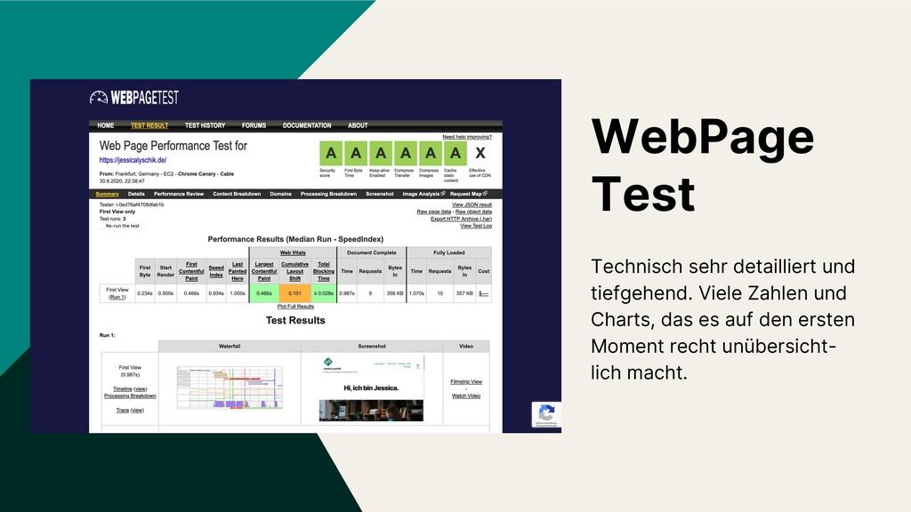 WebPage Test Technisch sehr detailliert und tie...