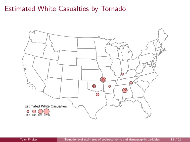 Estimated White Casualties by Tornado Estimated...