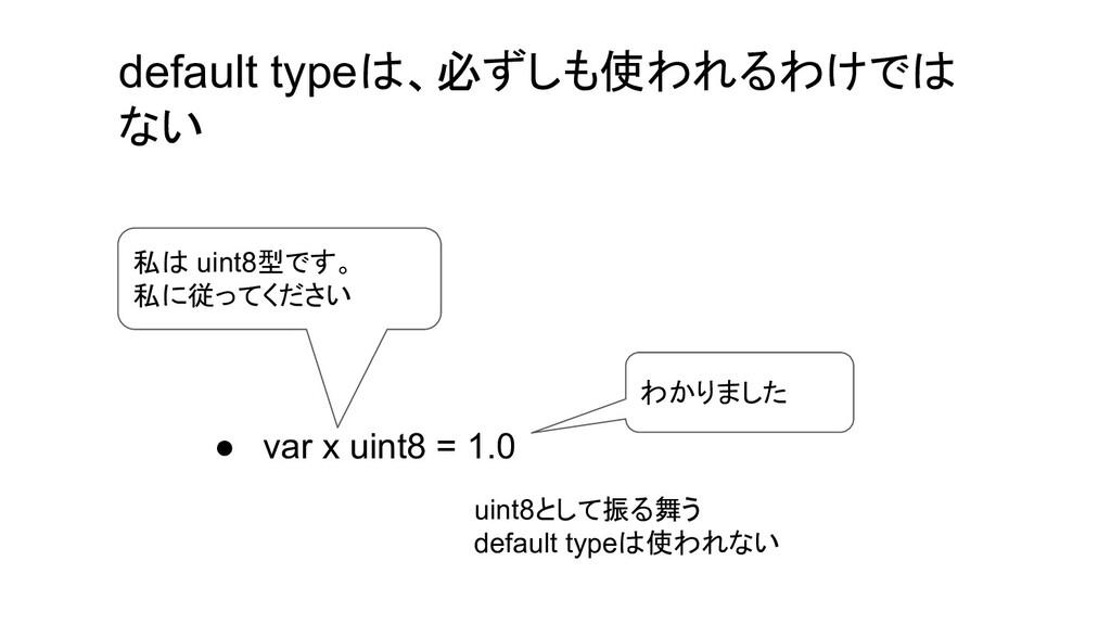 ● var x uint8 = 1.0 私は uint8型です。 私に従ってください わかりま...