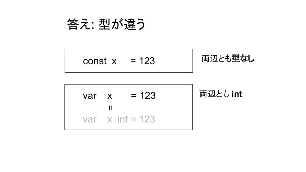答え: 型が違う const x = 123 var x = 123 var x int = ...