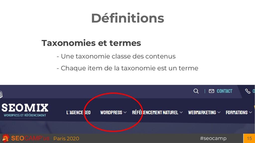 #seocamp Paris 2020 Définitions 15 Taxonomies e...