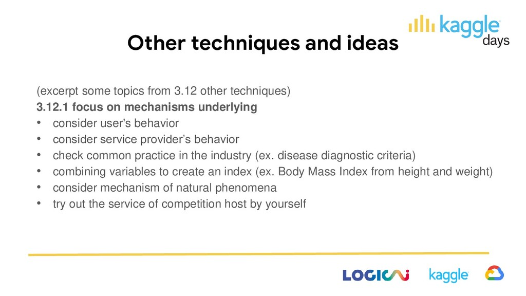 Other techniques and ideas (excerpt some topics...