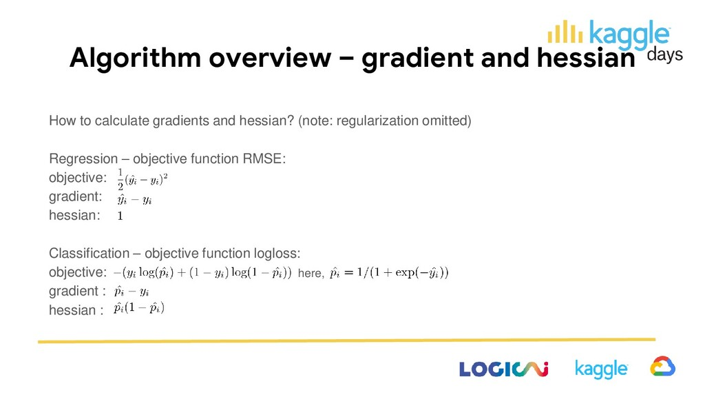 Algorithm overview – gradient and hessian How t...