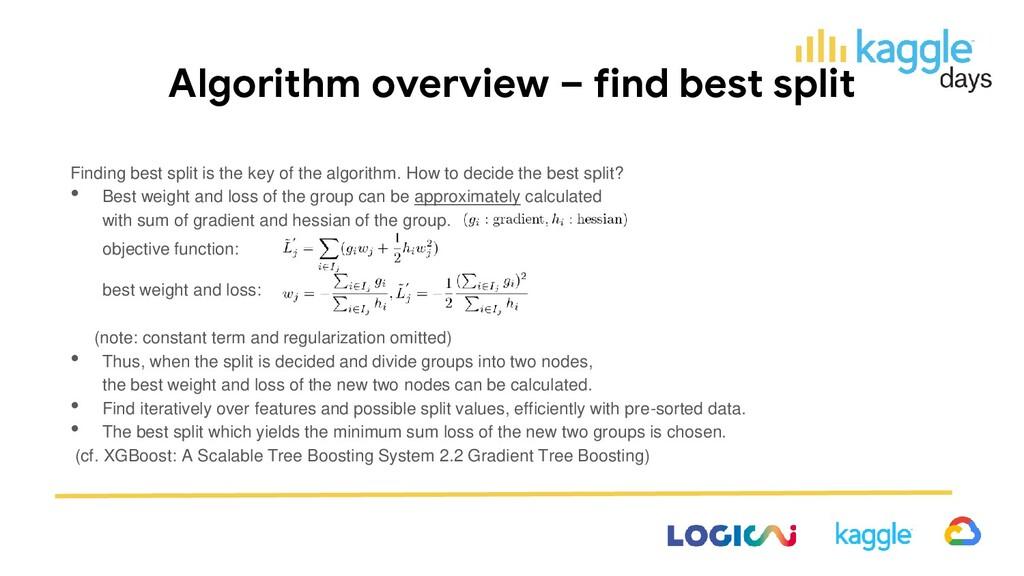 Algorithm overview – find best split Finding be...