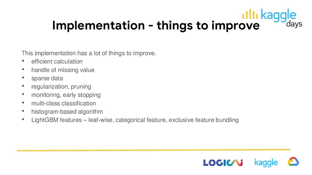 Implementation - things to improve This impleme...