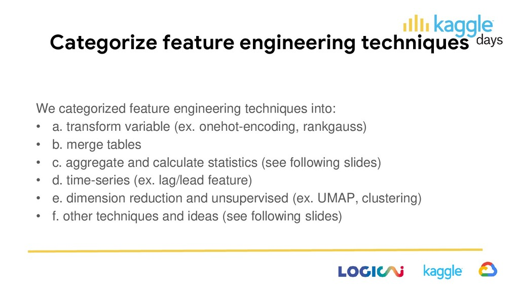 Categorize feature engineering techniques We ca...