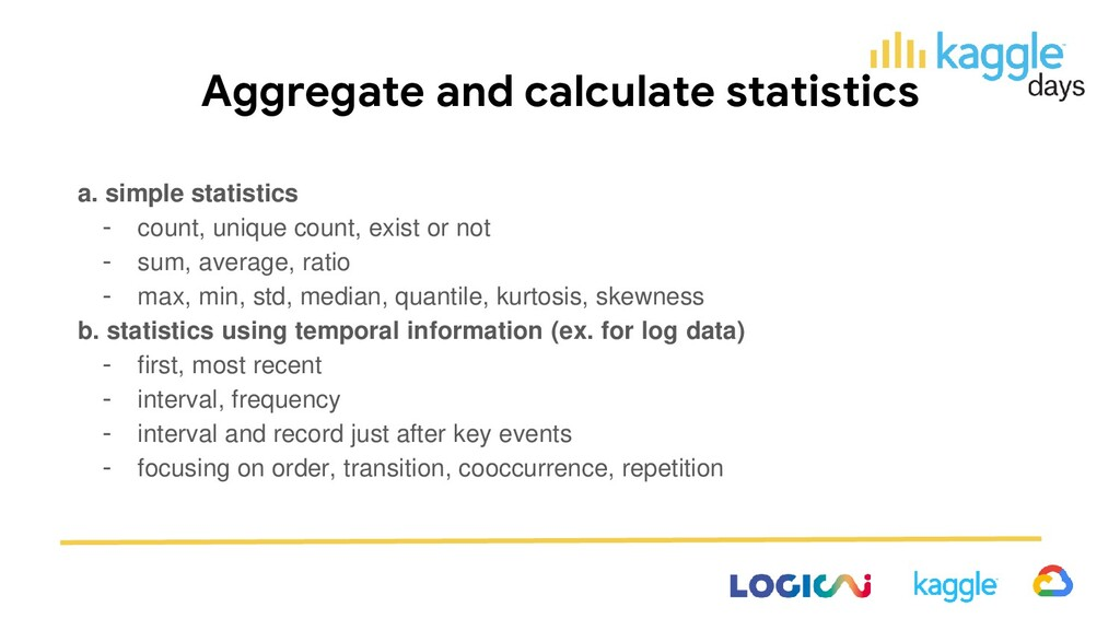 Aggregate and calculate statistics a. simple st...