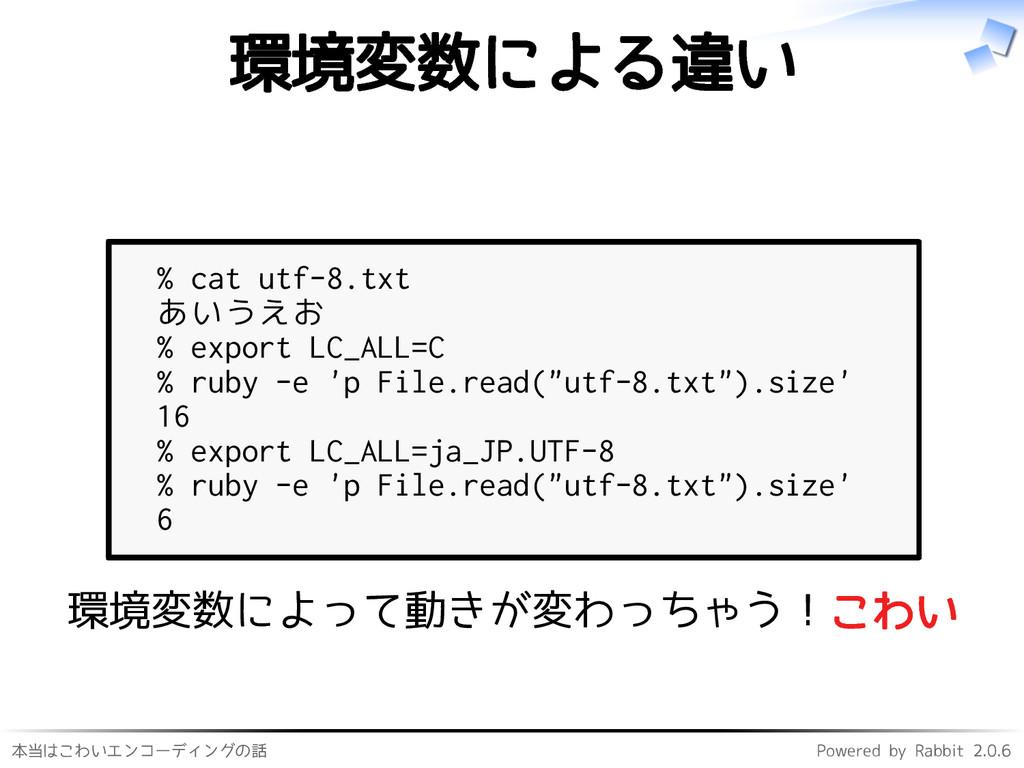 本当はこわいエンコーディングの話 Powered by Rabbit 2.0.6 環境変数によ...