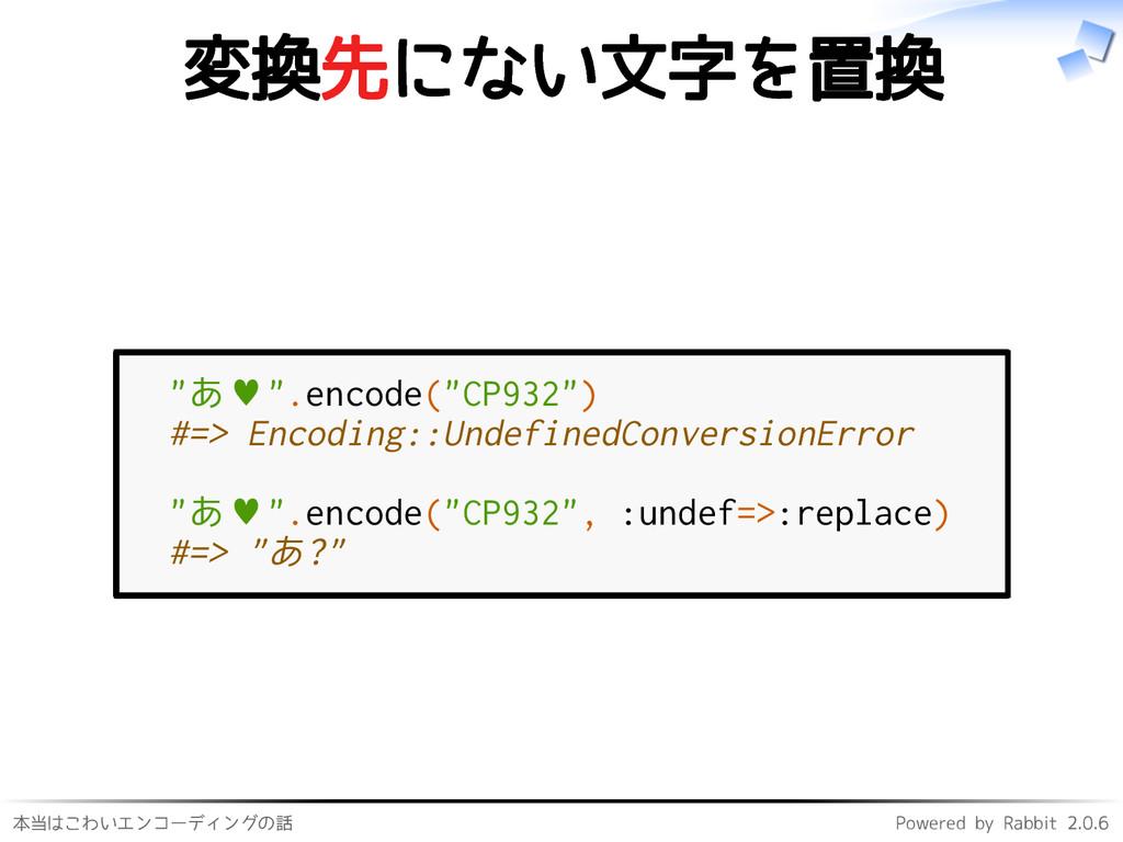 本当はこわいエンコーディングの話 Powered by Rabbit 2.0.6 変換先にない...