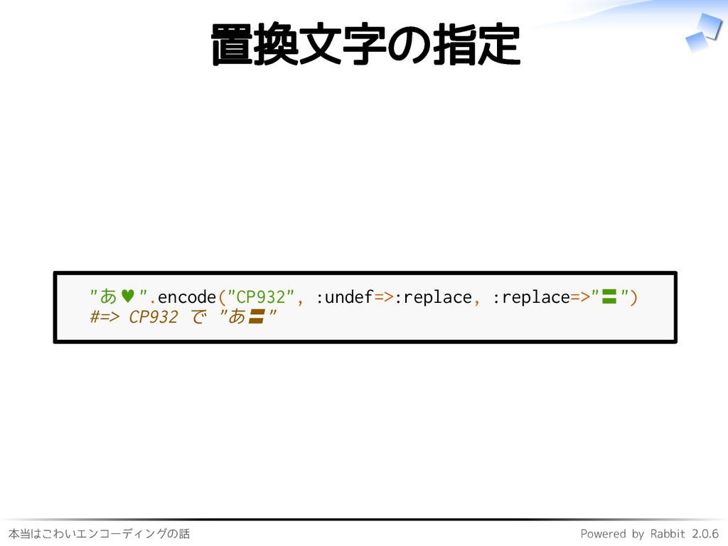 本当はこわいエンコーディングの話 Powered by Rabbit 2.0.6 置換文字の指...