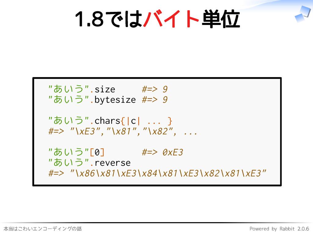 本当はこわいエンコーディングの話 Powered by Rabbit 2.0.6 1.8ではバ...
