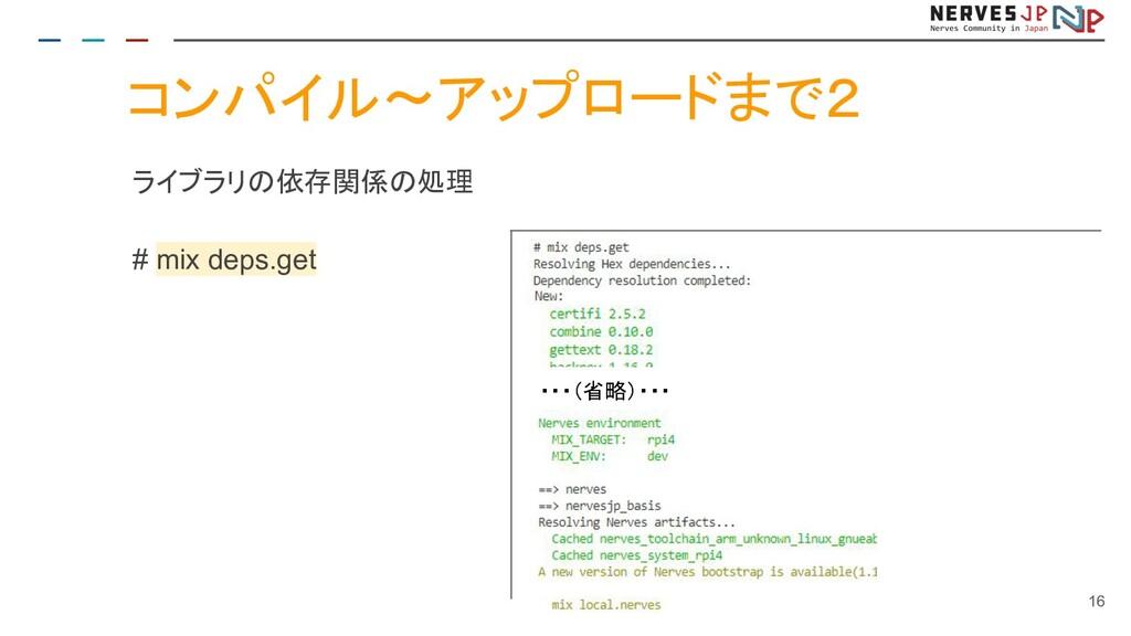 コンパイル~アップロードまで2 ライブラリの依存関係の処理 # mix deps.get 16...