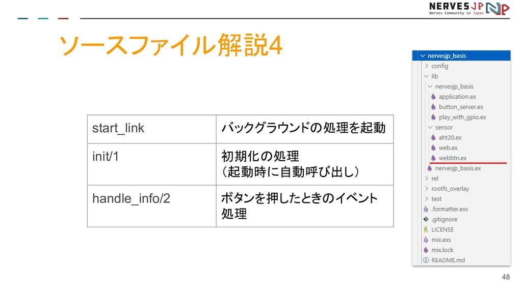 ソースファイル解説4 48 start_link バックグラウンドの処理を起動 init/1 ...