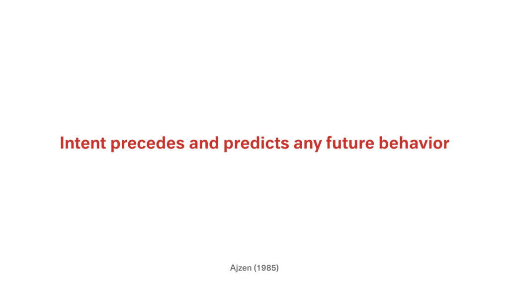 Ajzen (1985) Intent precedes and predicts any f...