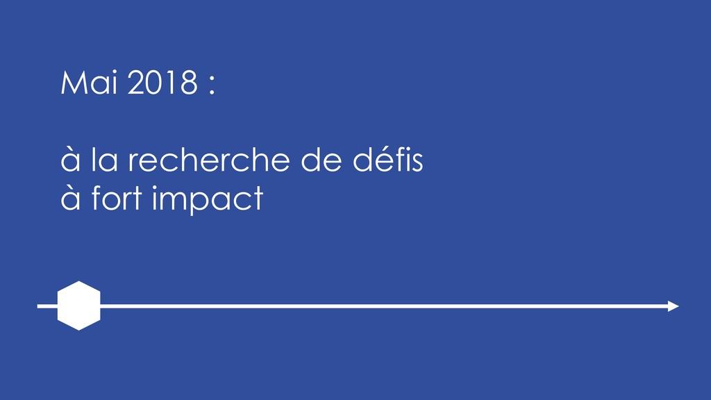Mai 2018 : à la recherche de défis à fort impact