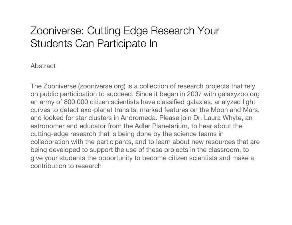 Zooniverse: Cutting Edge Research Your Students...