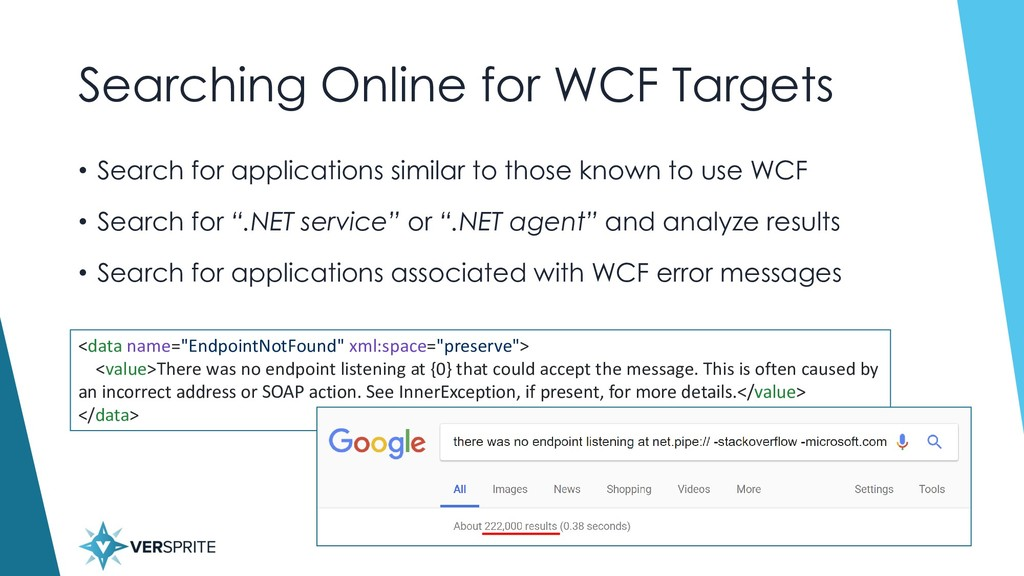 Searching Online for WCF Targets • Search for a...