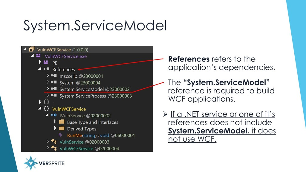 System.ServiceModel • References refers to the ...