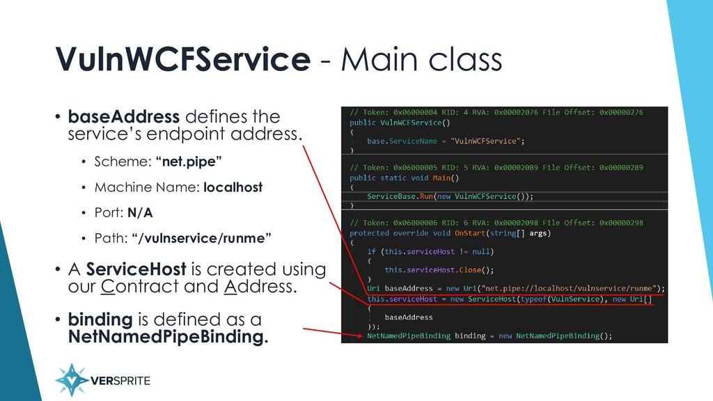 VulnWCFService - Main class • baseAddress defin...