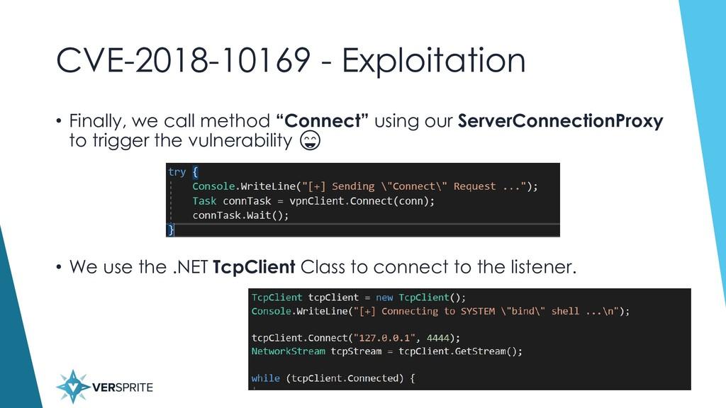 CVE-2018-10169 - Exploitation • Finally, we cal...