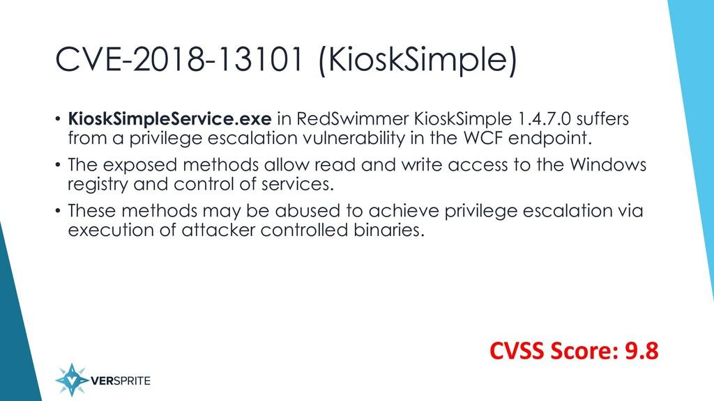 CVE-2018-13101 (KioskSimple) • KioskSimpleServi...