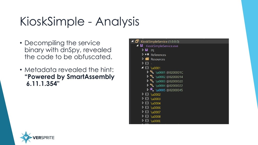 KioskSimple - Analysis • Decompiling the servic...