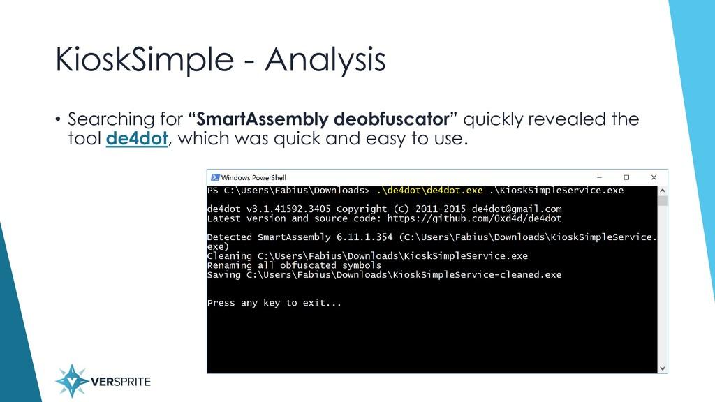 """KioskSimple - Analysis • Searching for """"SmartAs..."""