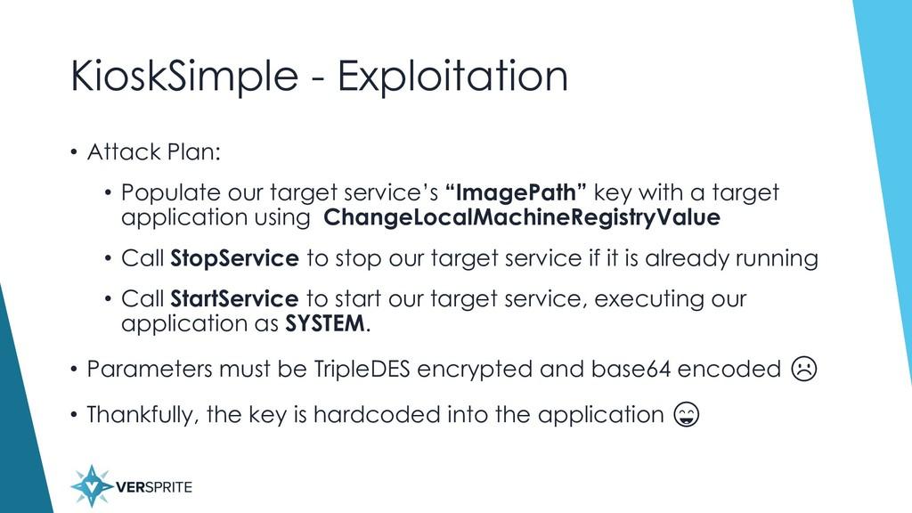 KioskSimple - Exploitation • Attack Plan: • Pop...