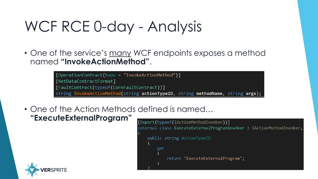 WCF RCE 0-day - Analysis • One of the service's...