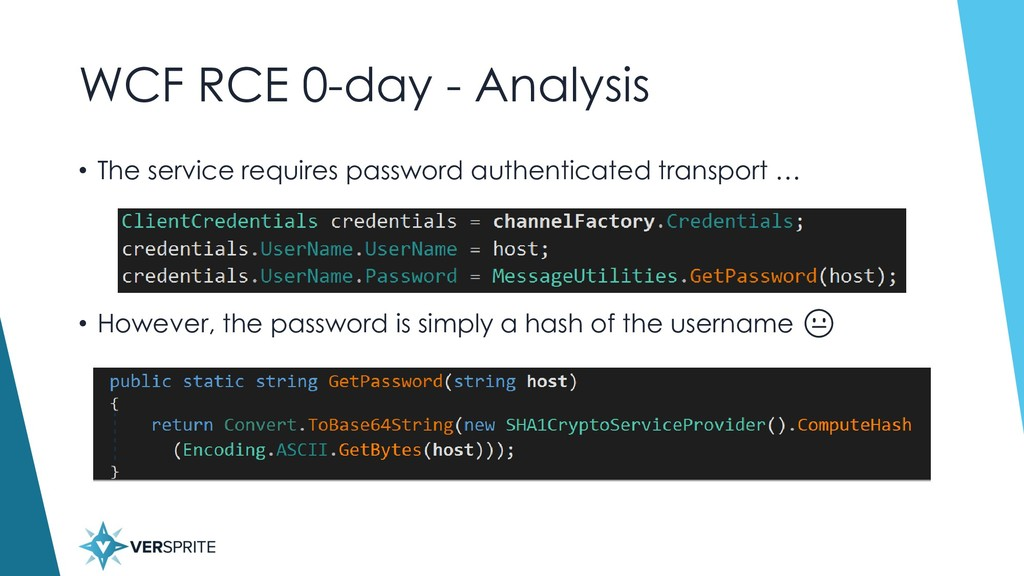 WCF RCE 0-day - Analysis • The service requires...