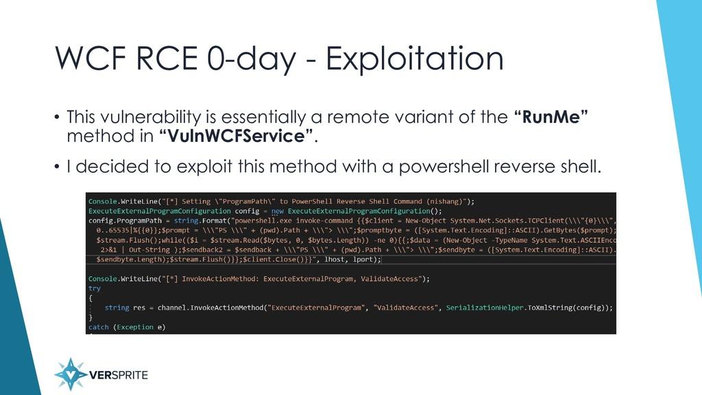 WCF RCE 0-day - Exploitation • This vulnerabili...