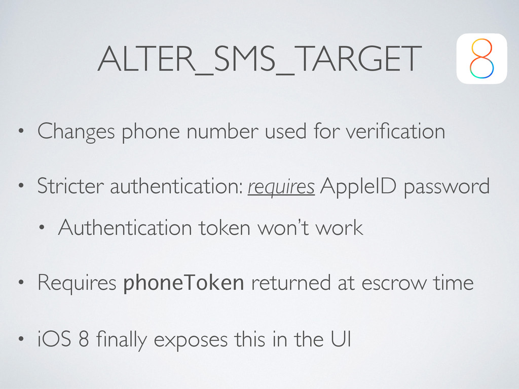 ALTER_SMS_TARGET • Changes phone number used fo...
