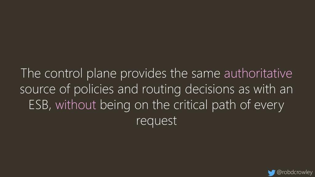 The control plane provides the same authoritati...