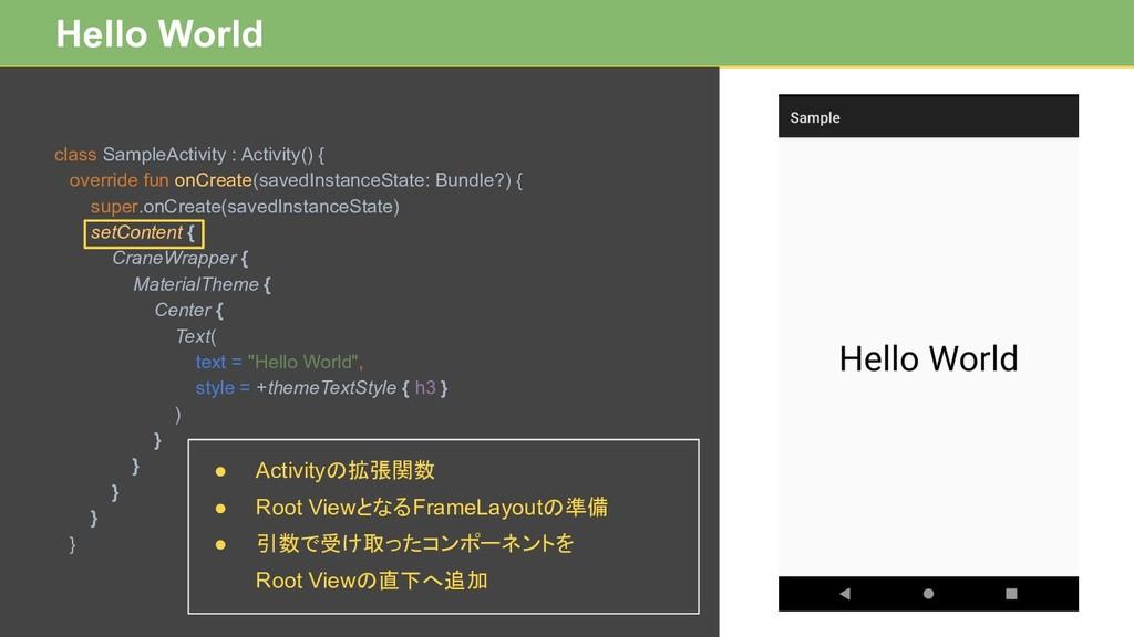 Hello World class SampleActivity : Activity() {...