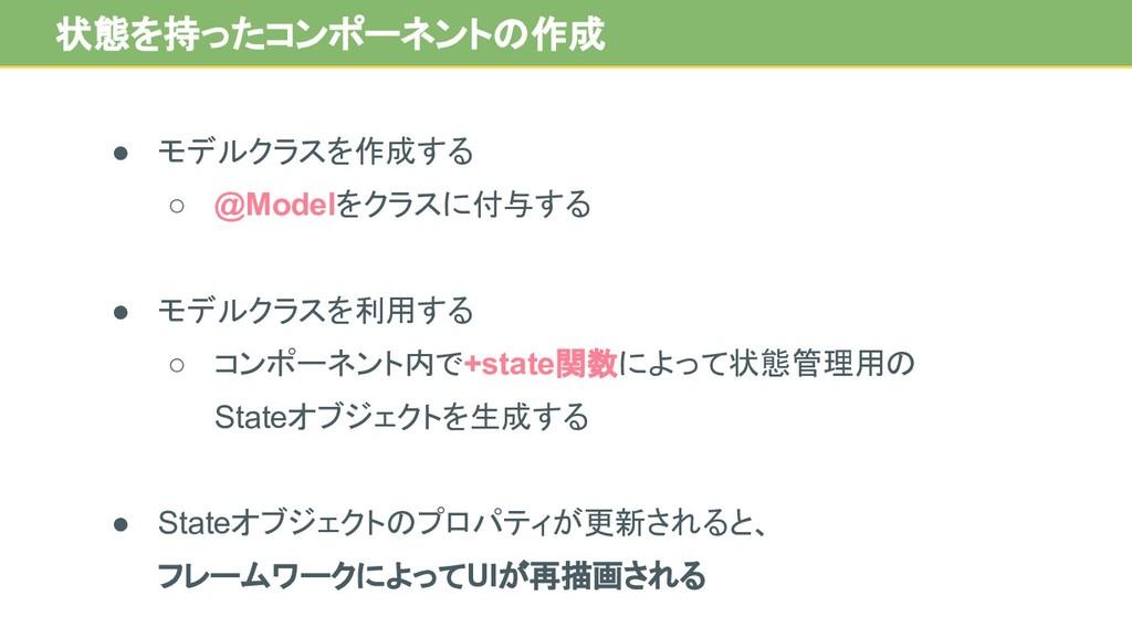 ● モデルクラスを作成する ○ @Modelをクラスに付与する ● モデルクラスを利用する ○...