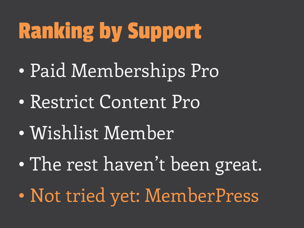 Ranking by Support •Paid Memberships Pro •Res...