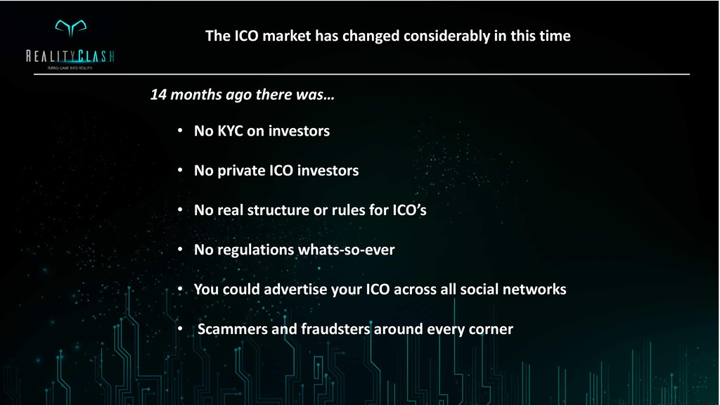 s 14 months ago there was… • No KYC on investor...