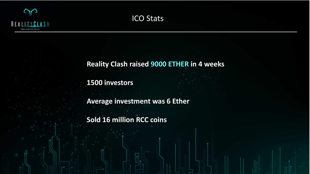 Reality Clash raised 9000 ETHER in 4 weeks 1500...