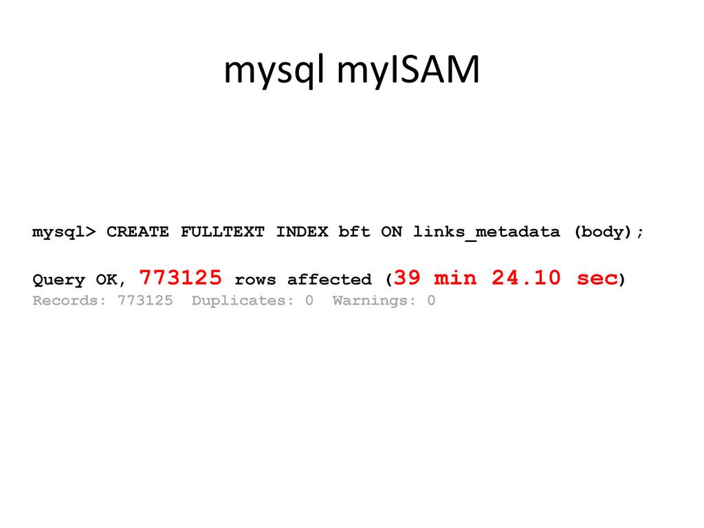 mysql> CREATE FULLTEXT INDEX bft ON links_metad...