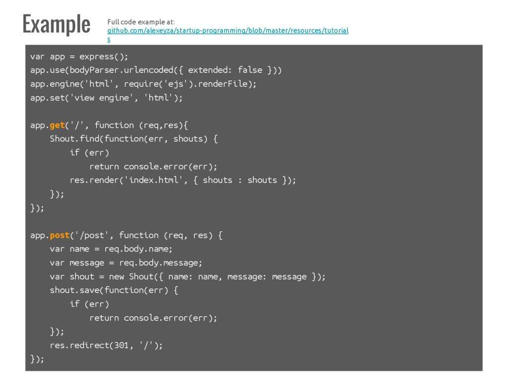 Example var app = express(); app.use(bodyParser...