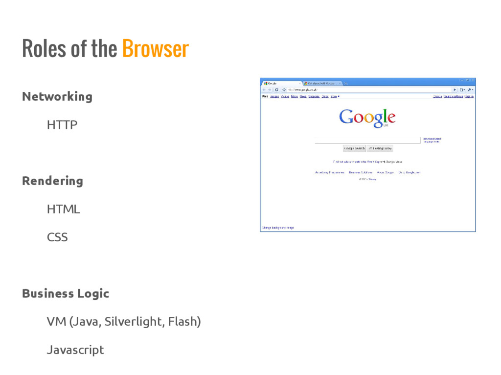 Networking HTTP Rendering HTML CSS Business Log...