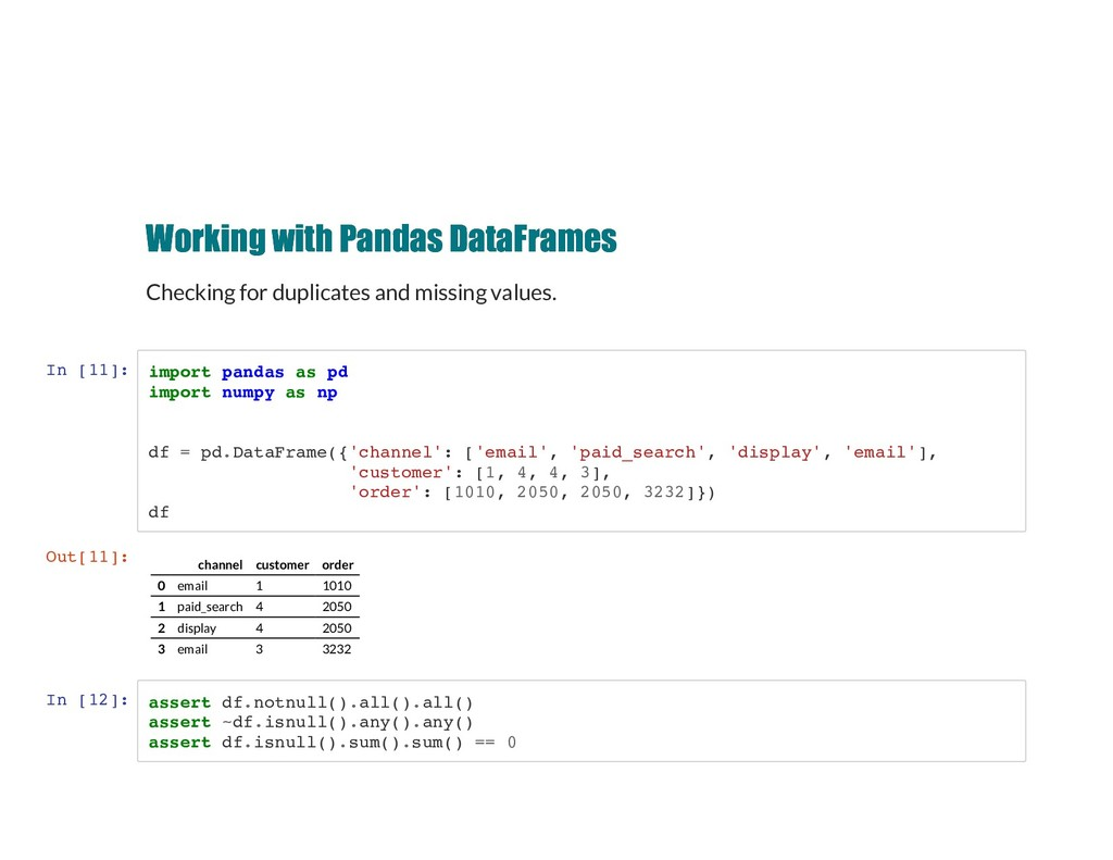 Working with Pandas DataFrames Working with Pan...