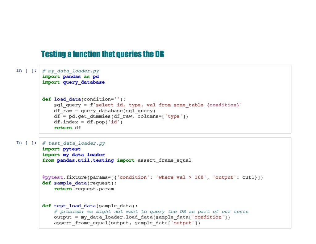Testing a function that queries the DB Testing ...