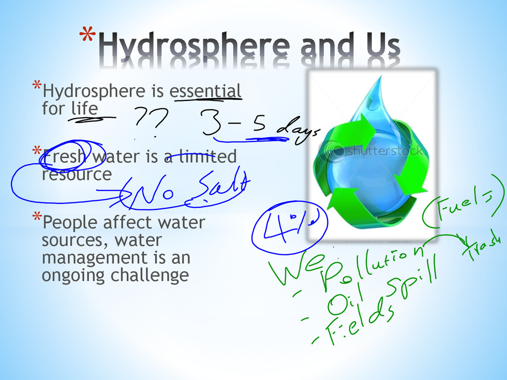 *Hydrosphere is essential for life *Fresh water...