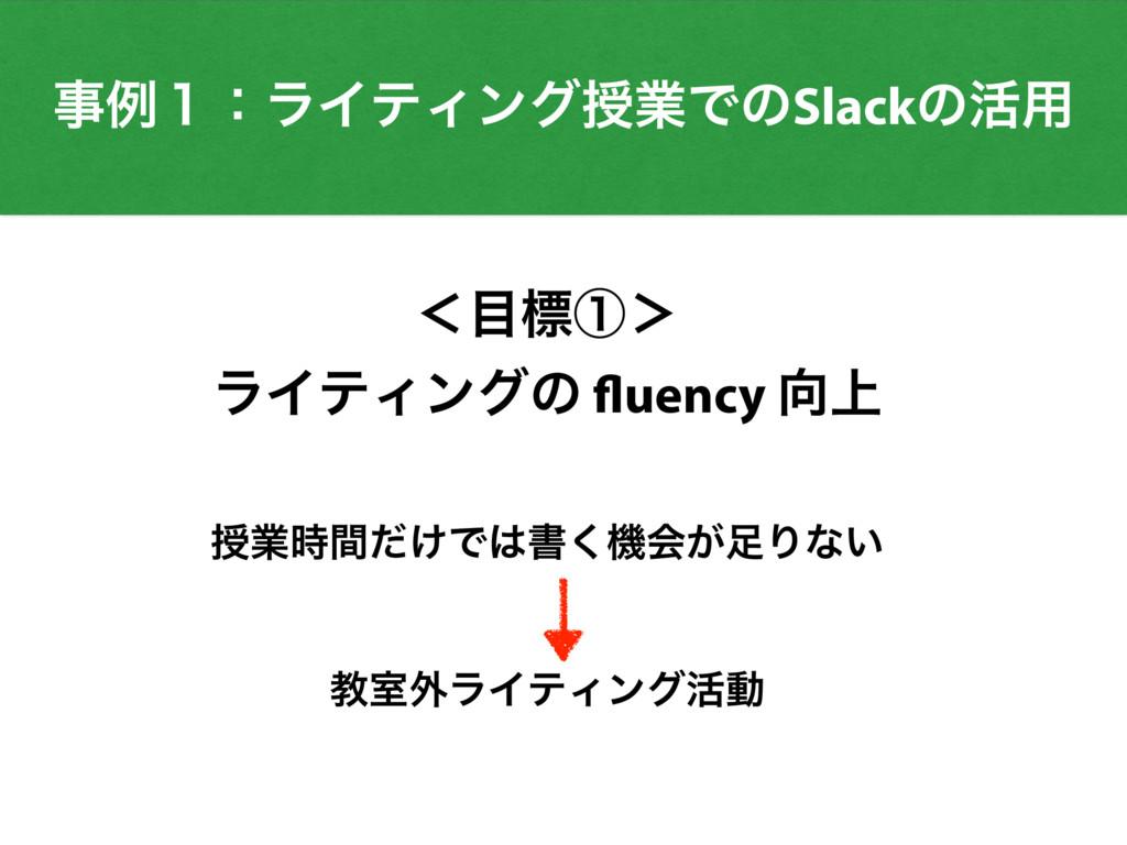 ྫ̍ɿϥΠςΟϯάतۀͰͷSlackͷ׆༻ ʻඪᶃ' ϥΠςΟϯάͷ fluency ্...