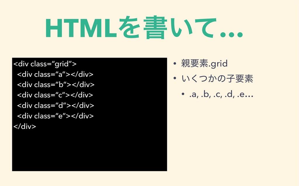 HTMLΛॻ͍ͯ… • ཁૉ.grid • ͍͔ͭ͘ͷࢠཁૉ • .a, .b, .c, ....
