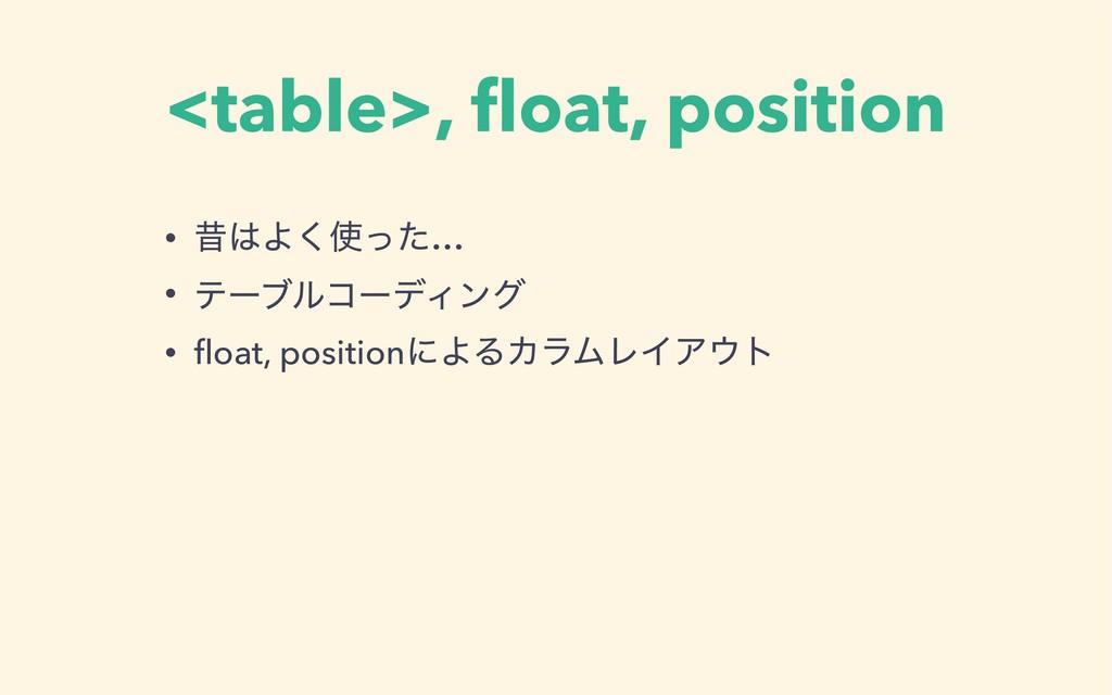 <table>, float, position • ੲΑͬͨ͘… • ςʔϒϧίʔσΟϯά...